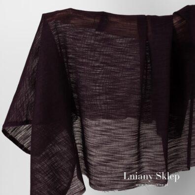 Przeźroczysta tkanina ciemny fiolet w prążki.
