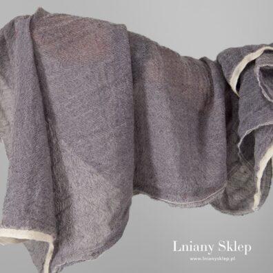 Tkanina prana fioletowa len z wełną.