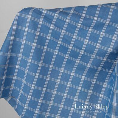 Błękitna tkanina w białą kratkę len z bawełną.