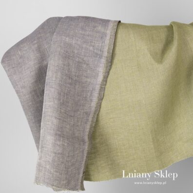 Dwustronna tkanina zielona i jasnofioletowa.