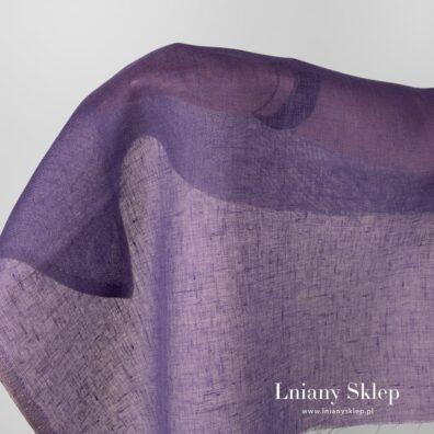 Przeźroczysta tkanina lniana fioletowa.