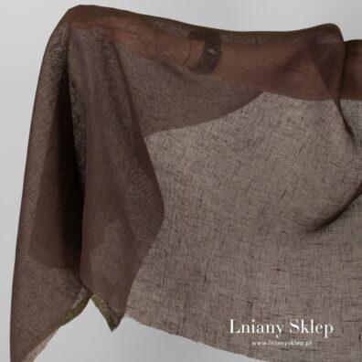 Przeźroczysta tkanina lniana czekoladowa.
