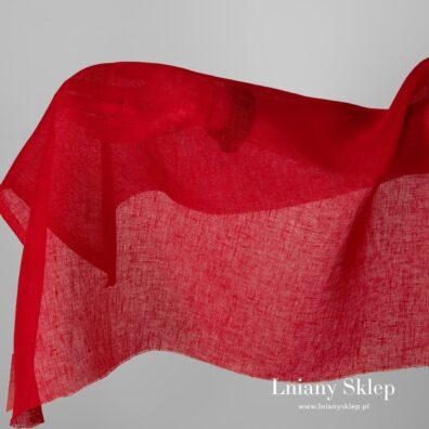 Przeźroczysta tkanina lniana kolor czerwony.